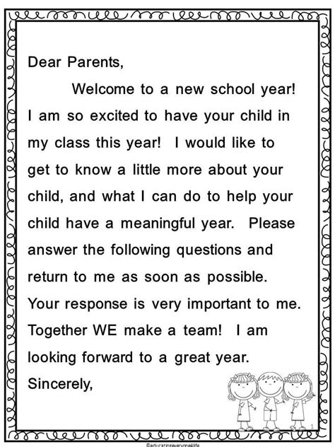 back to school parent letter and survey school tool