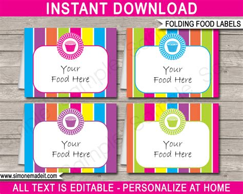 Cupcake Party Food Labels Place Cards Cupcake Theme Party Card Label Template