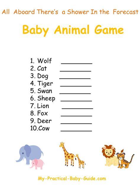 printable baby animal game free printable noah s ark baby shower animal game