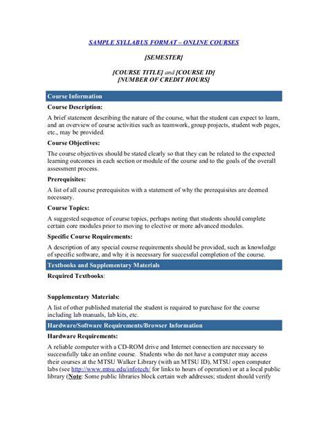 Course Syllabus Template Course Curriculum Template Word
