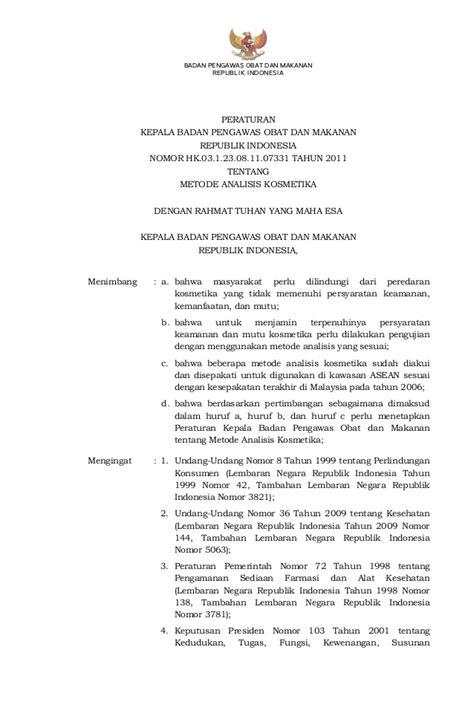 Kepala Patung Shilla Hk 92 perka bpom hk 03 1 23 08 11 07331 tahun 2011 metode analisis kosmetika