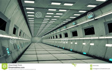 space interno spaceship interior center view with floor stock