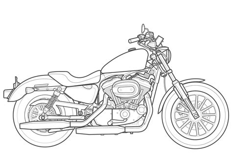 Line Drawing Of Harley Davidson Google Search Ideas