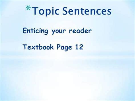 topic sentences authorstream