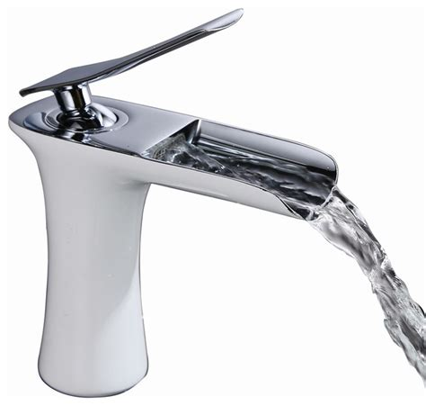 White Bathroom Sink Faucets by Sumerain Waterfall Style White Chrome Sink Faucet