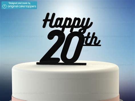 """Happy 20th""   Black   20th Birthday Cake Topper"