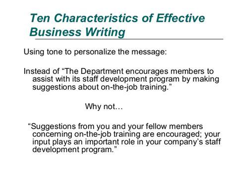 Mba School Characteristics ten characteristics of effective business writing
