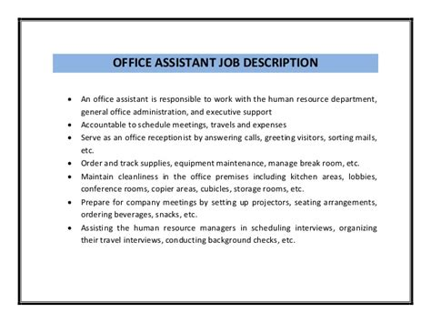 Office Assistant Description Resume by Office Assistant Resume Sle Pdf