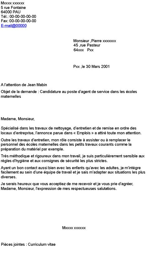Lettre De Motivation Ecole Technique emploi lettre motivation adjoint technique polyvalent