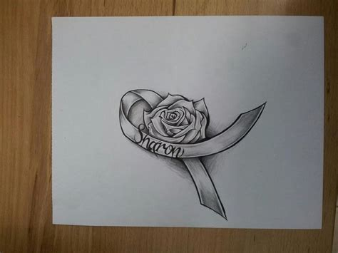 rose tattoo with breast cancer ribbon cancer ribbon by magnasicparvis deviantart on