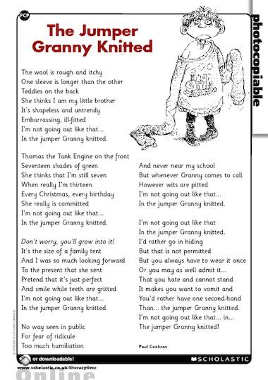 poems about knitting the jumper knitted poem primary ks2 teaching