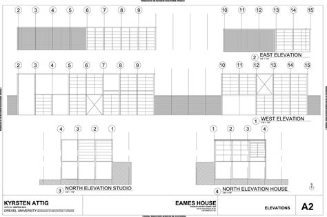 Eames House Section by Eame S House Project Autocad On Behance
