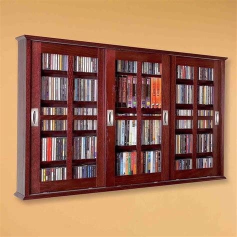 New Dvd Cd Media Storage Wall Cabinet Glass Doors Wood Dvd Storage Cabinet With Doors