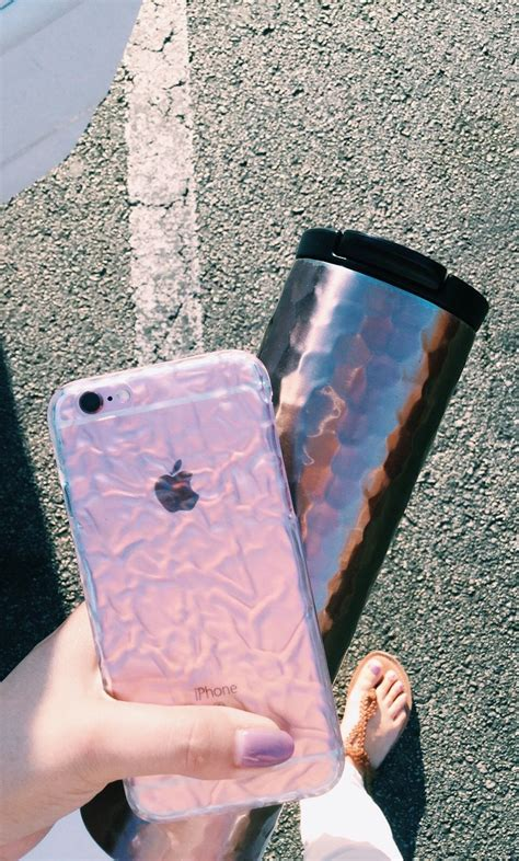 clear crystalline case  elemental cases showing   rose gold iphone