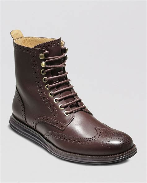 cole haan s boots lyst cole haan lunargrand wingtip boots in brown for