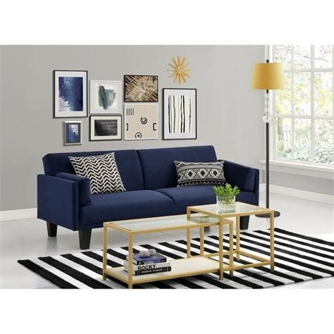 navy blue loveseat ameriwood metro microfiber convertible sofa in navy blue