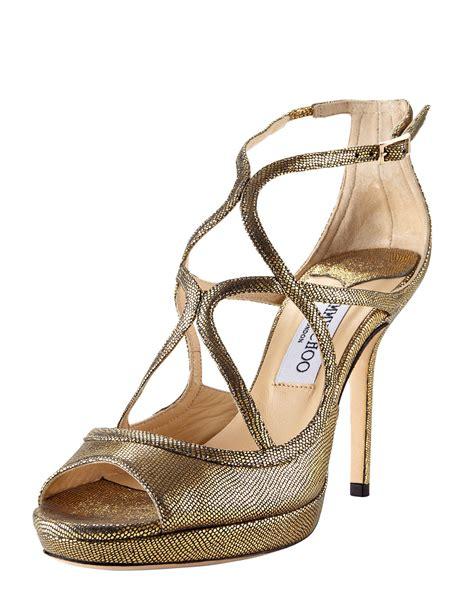 jimmy choo gold sandals jimmy choo crisscross platform sandal in gold lyst