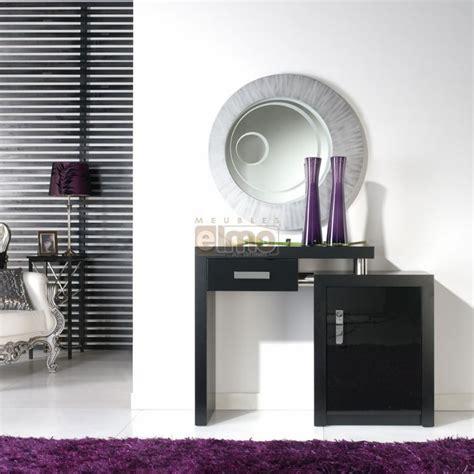 console design 1 tiroir 1 porte noir et argent avec miroir