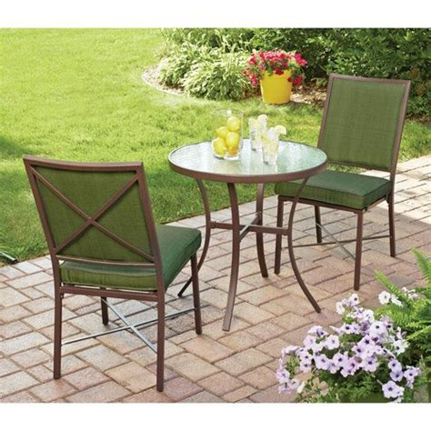 3 pc chairs with cushions and glass top table outdoor