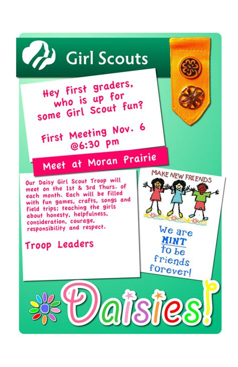 themes for girl scout c girl scout flyer flyer for daisy girls scouts for