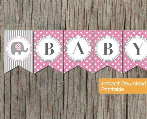 printable banners for baby shower baby shower banner pink grey elephant bumpandbeyonddesigns