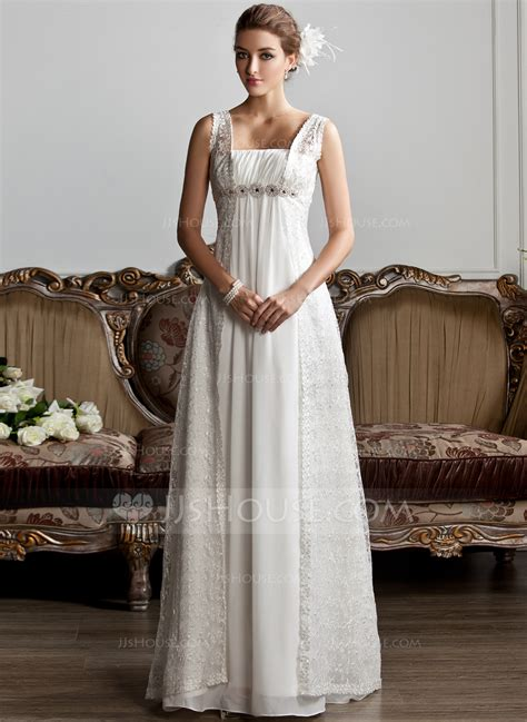 Square Wedding Dress by A Line Princess Square Neckline Sweep Chiffon Lace