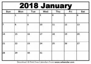 Calendar 2018 Template January January 2018 Calendar Templates Caleendar