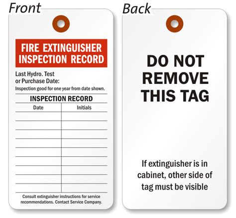 Fire extinguisher monthly inspection tags
