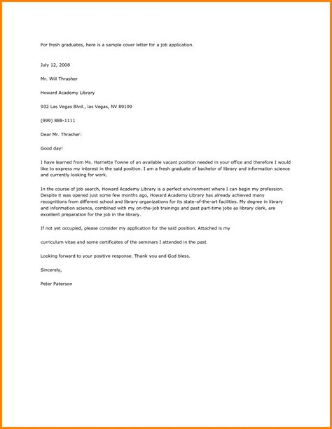 cover letter for college application exle application letter sle for fresh graduate pdf