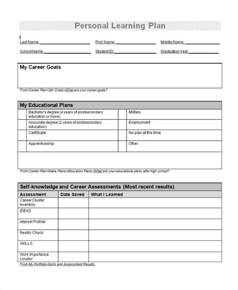 personal learning plan template 9 learning plan exles sles