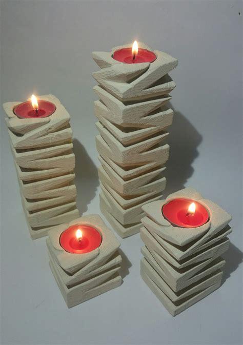 candele scolpite quartetto di porta candele in pietra leccese candele e