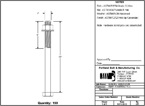 Drawing U Bolt by Custom Submittal Drawings Portland Bolt