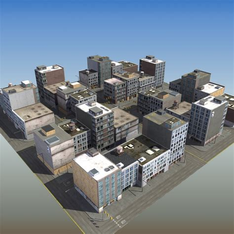 City Blocks commercial city block 3d model