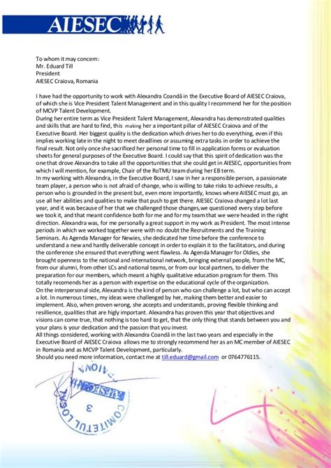 Endorsement Letter Aiesec endorsement letters alexandra coanda