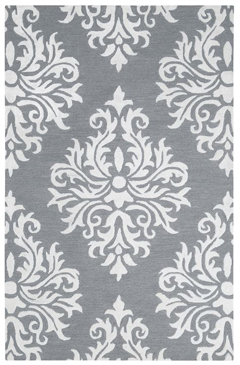 Grey Damask Rug by Harbor Classic Damask Wool Area Rug In Gray White