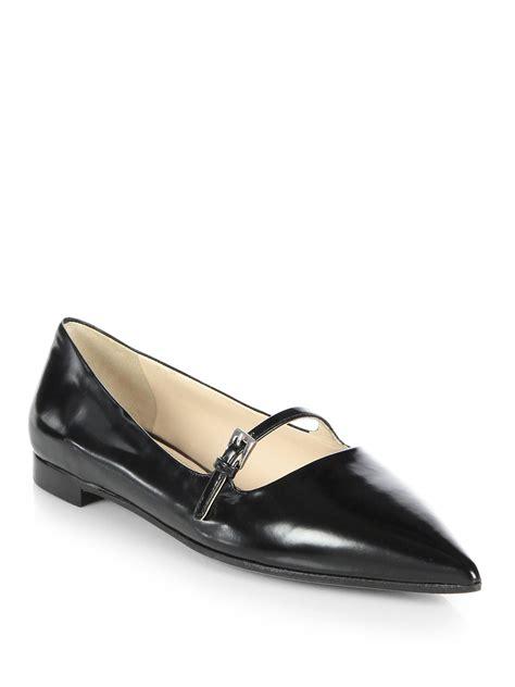Prada Flats prada polished leather flats in black lyst