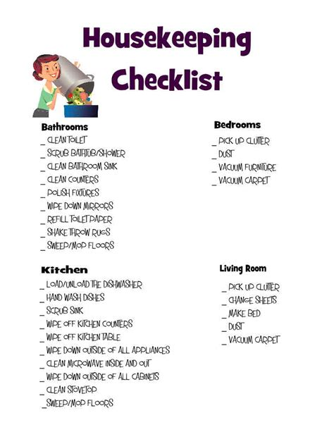 Find Housekeeping by Housekeeping Checklist Search Results Calendar 2015