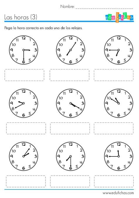 pegar imagenes a pdf aprender las horas fichas con actividades ejercicio con