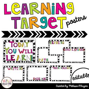 printable learning targets learning target posters editable by melissa o bryan