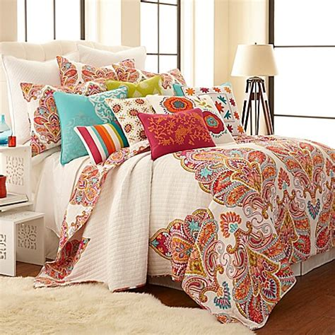 quilts at bed bath and beyond levtex home tivoli bone reversible quilt set in red bed
