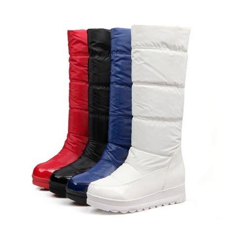womens winter snow knee high boots wedge heels platform