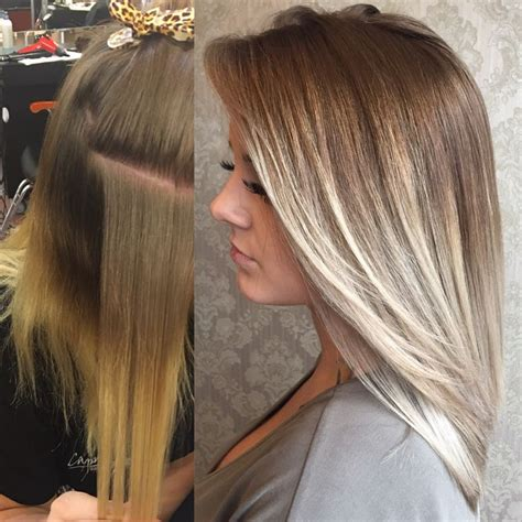 photos of dark blond with light blind higights platinum balayage on dark hair