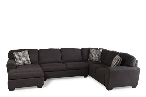 sectional so three piece microfiber 145 quot sectional in dark slate