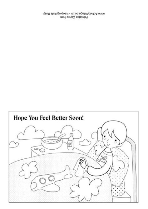 get well card template mini cards get well soon colouring card 4