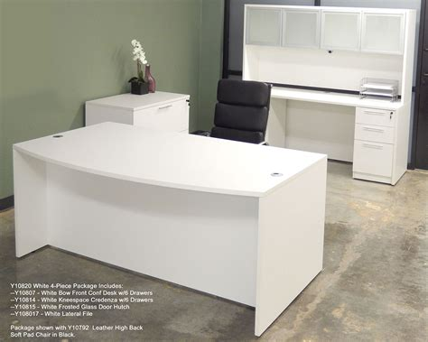 White Office Desk White 4 Office Furniture Package