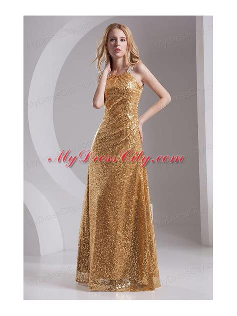 column straps sequins beading and sequins prom dress in