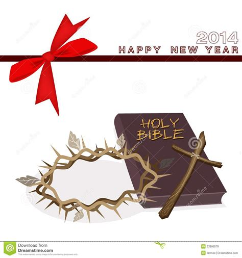 new year greetings bible new year gift card with bible and crown of stock