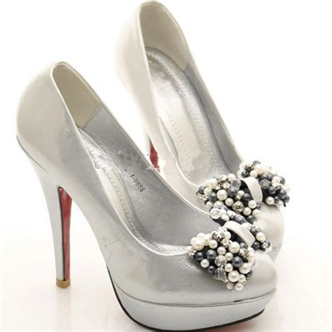 wedding beautiful silver wedding shoes