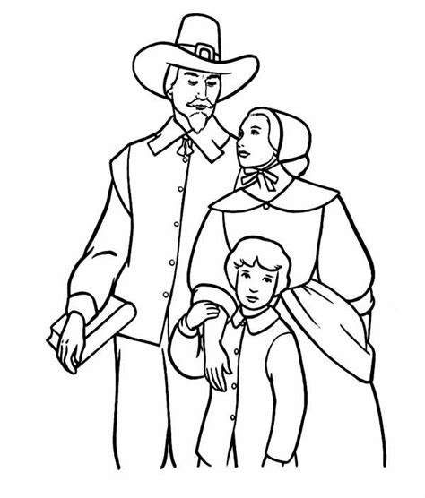 A Pilgrim Family On Thanksgiving Day Coloring Page Family Day Coloring Pages