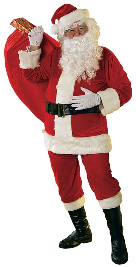 santa claus fancy dress costume velour santa suit father